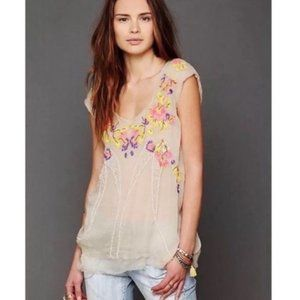 Free People Summer Nights Floral Embroidered Top